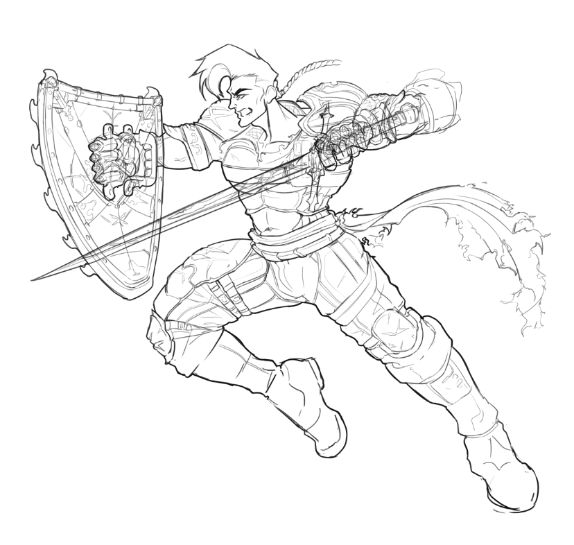 concept art of character alrik steele with sword and shield